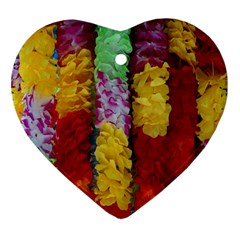 Colorful Hawaiian Lei Flowers Ornament (Heart)