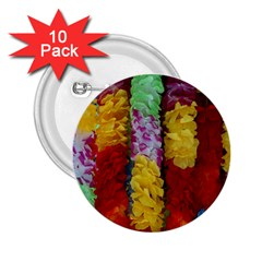 Colorful Hawaiian Lei Flowers 2.25  Buttons (10 pack)