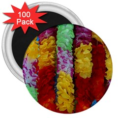 Colorful Hawaiian Lei Flowers 3  Magnets (100 Pack)