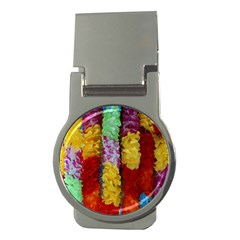 Colorful Hawaiian Lei Flowers Money Clips (Round)