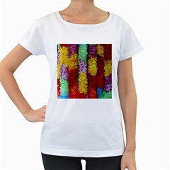 Colorful Hawaiian Lei Flowers Women s Loose-Fit T-Shirt (White)