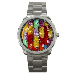 Colorful Hawaiian Lei Flowers Sport Metal Watch