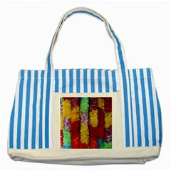 Colorful Hawaiian Lei Flowers Striped Blue Tote Bag