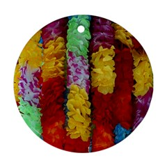 Colorful Hawaiian Lei Flowers Round Ornament (Two Sides)
