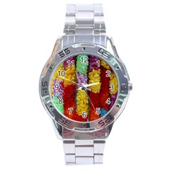 Colorful Hawaiian Lei Flowers Stainless Steel Analogue Watch
