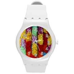 Colorful Hawaiian Lei Flowers Round Plastic Sport Watch (M)