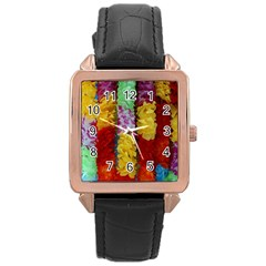Colorful Hawaiian Lei Flowers Rose Gold Leather Watch
