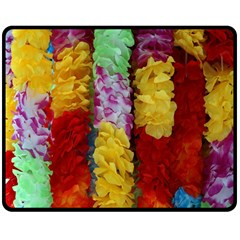 Colorful Hawaiian Lei Flowers Double Sided Fleece Blanket (medium)