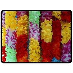 Colorful Hawaiian Lei Flowers Double Sided Fleece Blanket (Large)