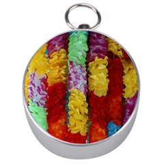 Colorful Hawaiian Lei Flowers Silver Compasses