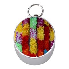 Colorful Hawaiian Lei Flowers Mini Silver Compasses