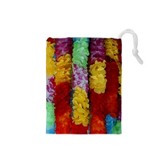 Colorful Hawaiian Lei Flowers Drawstring Pouches (Small)