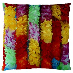 Colorful Hawaiian Lei Flowers Large Flano Cushion Case (Two Sides)