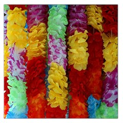 Colorful Hawaiian Lei Flowers Large Satin Scarf (Square)