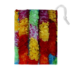 Colorful Hawaiian Lei Flowers Drawstring Pouches (extra Large)