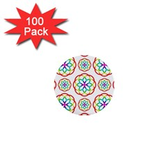 Geometric Circles Seamless Rainbow Colors Geometric Circles Seamless Pattern On White Background 1  Mini Buttons (100 Pack)