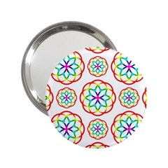 Geometric Circles Seamless Rainbow Colors Geometric Circles Seamless Pattern On White Background 2.25  Handbag Mirrors