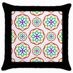 Geometric Circles Seamless Rainbow Colors Geometric Circles Seamless Pattern On White Background Throw Pillow Case (Black)