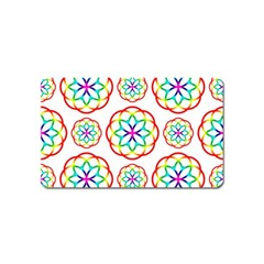 Geometric Circles Seamless Rainbow Colors Geometric Circles Seamless Pattern On White Background Magnet (Name Card)