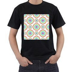 Geometric Circles Seamless Rainbow Colors Geometric Circles Seamless Pattern On White Background Men s T Shirt (black) (two Sided)