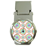 Geometric Circles Seamless Rainbow Colors Geometric Circles Seamless Pattern On White Background Money Clip Watches Front
