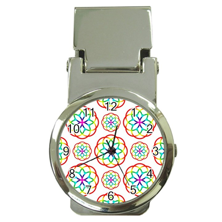 Geometric Circles Seamless Rainbow Colors Geometric Circles Seamless Pattern On White Background Money Clip Watches