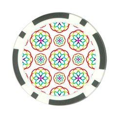 Geometric Circles Seamless Rainbow Colors Geometric Circles Seamless Pattern On White Background Poker Chip Card Guard (10 Pack)