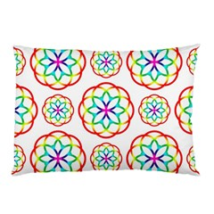 Geometric Circles Seamless Rainbow Colors Geometric Circles Seamless Pattern On White Background Pillow Case (Two Sides)