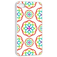 Geometric Circles Seamless Rainbow Colors Geometric Circles Seamless Pattern On White Background Apple iPhone 4/4s Seamless Case (White)