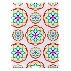 Geometric Circles Seamless Rainbow Colors Geometric Circles Seamless Pattern On White Background Apple iPad 3/4 Hardshell Case (Compatible with Smart Cover)