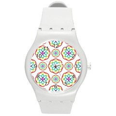 Geometric Circles Seamless Rainbow Colors Geometric Circles Seamless Pattern On White Background Round Plastic Sport Watch (M)