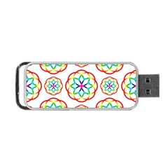 Geometric Circles Seamless Rainbow Colors Geometric Circles Seamless Pattern On White Background Portable USB Flash (One Side)