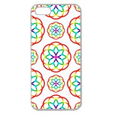 Geometric Circles Seamless Rainbow Colors Geometric Circles Seamless Pattern On White Background Apple Seamless Iphone 5 Case (clear)