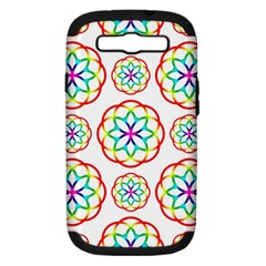 Geometric Circles Seamless Rainbow Colors Geometric Circles Seamless Pattern On White Background Samsung Galaxy S III Hardshell Case (PC+Silicone)