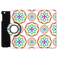 Geometric Circles Seamless Rainbow Colors Geometric Circles Seamless Pattern On White Background Apple Ipad Mini Flip 360 Case