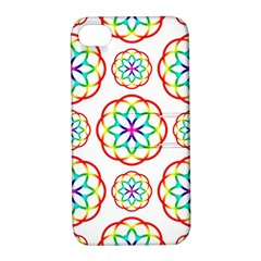 Geometric Circles Seamless Rainbow Colors Geometric Circles Seamless Pattern On White Background Apple iPhone 4/4S Hardshell Case with Stand