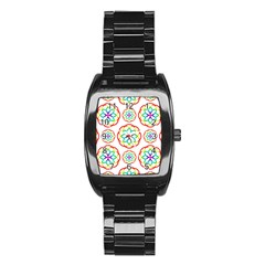 Geometric Circles Seamless Rainbow Colors Geometric Circles Seamless Pattern On White Background Stainless Steel Barrel Watch