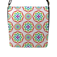 Geometric Circles Seamless Rainbow Colors Geometric Circles Seamless Pattern On White Background Flap Messenger Bag (l)