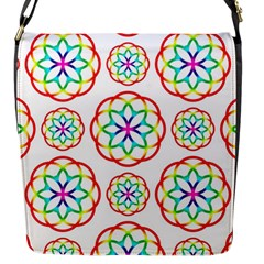 Geometric Circles Seamless Rainbow Colors Geometric Circles Seamless Pattern On White Background Flap Messenger Bag (s)