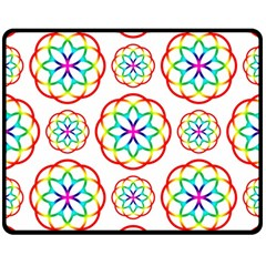 Geometric Circles Seamless Rainbow Colors Geometric Circles Seamless Pattern On White Background Double Sided Fleece Blanket (medium)
