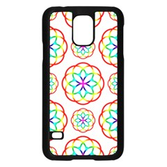Geometric Circles Seamless Rainbow Colors Geometric Circles Seamless Pattern On White Background Samsung Galaxy S5 Case (Black)