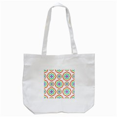 Geometric Circles Seamless Rainbow Colors Geometric Circles Seamless Pattern On White Background Tote Bag (white)