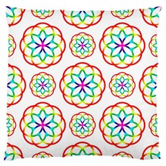 Geometric Circles Seamless Rainbow Colors Geometric Circles Seamless Pattern On White Background Standard Flano Cushion Case (One Side)
