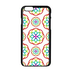 Geometric Circles Seamless Rainbow Colors Geometric Circles Seamless Pattern On White Background Apple Iphone 6/6s Black Enamel Case