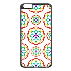 Geometric Circles Seamless Rainbow Colors Geometric Circles Seamless Pattern On White Background Apple iPhone 6 Plus/6S Plus Black Enamel Case