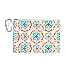 Geometric Circles Seamless Rainbow Colors Geometric Circles Seamless Pattern On White Background Canvas Cosmetic Bag (m)
