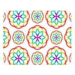 Geometric Circles Seamless Rainbow Colors Geometric Circles Seamless Pattern On White Background Double Sided Flano Blanket (Large)