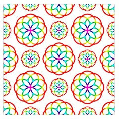 Geometric Circles Seamless Rainbow Colors Geometric Circles Seamless Pattern On White Background Large Satin Scarf (Square)