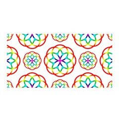 Geometric Circles Seamless Rainbow Colors Geometric Circles Seamless Pattern On White Background Satin Wrap