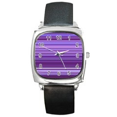 Stripe Colorful Background Square Metal Watch